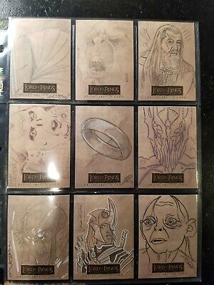 Lord Of The Rings Masterpieces Topps Sketch Cards - Lot of 9