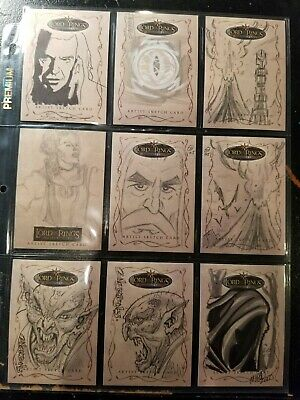 Lord Of The Rings Topps Sketch Cards - Lot Of 9