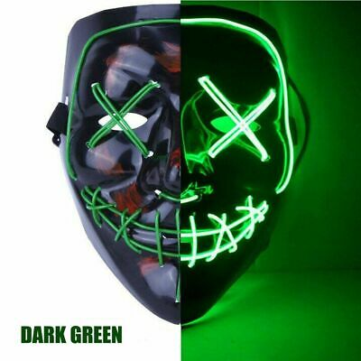 3-Modes Scary Mask Cosplay Led Costume Mask EL Wire Light Up The Purge Movie USA