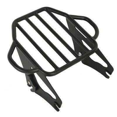 Black Detachable 2 Up Tour Luggage Rack For 09-18 Harley Touring Electra Glide