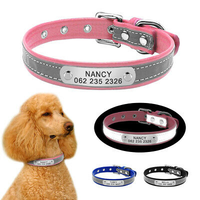 Personalized Dog Collar Soft Leather Reflective Adjustable for Pet Puppy Yorkie