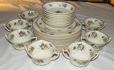 Syracuse Old Ivory Selma TWENTY-EIGHT pieces: Plates, Bowls, Cream Soups