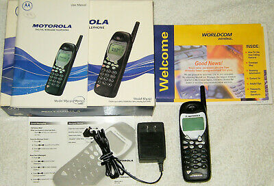 Vintage Motorola M3097 Analog Cellular Cell Phone Bundle Worldcom W/ Power Cord