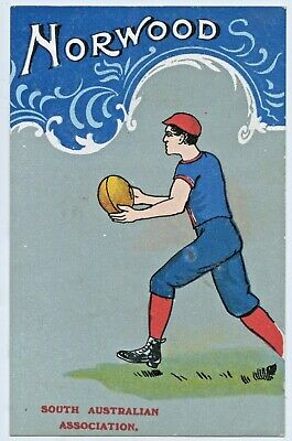 1906 Npu Super Rare Litho Postcard Norwood Football Club Sa Association  W31