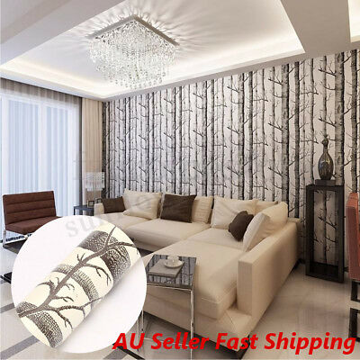 10M Textured Nature Forest Tree Wood 3D Wallpaper Roll Wall Paper Home Decor