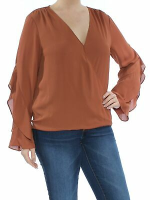 304b726972516b INC  70 Womens 1140 Brown Ruffled V Neck Long Sleeve Casual Top Regular XXL  B+