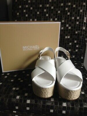733877a0cfe Michael Kors Women Optic White Leather Jodi Mid Wedge Size 9.5 New with Box