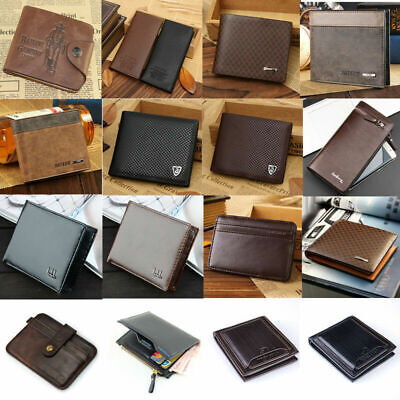 Men's Card Clutch Purse Money Clip Credit Cad Holder Leather Wallet Pockets Gift