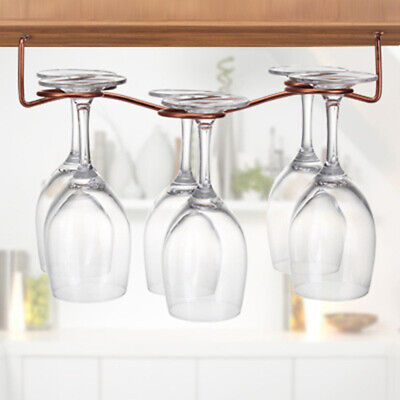 Iron Rack Wine Glass Hanging Holder 6 Cup Glass Upside Down Goblets Stand RackBS