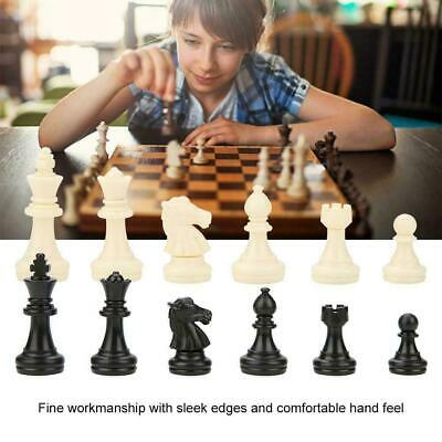 32 Tournament Chess Pieces Set Weighted Plastic Pieces with King Black&White