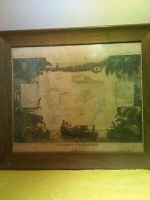 Antique Map Of French  Colonies In Senegal And Madagascar By V. Levasseur  1850
