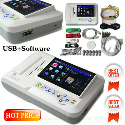 Portable ECG Machine 12 Leads Touch EKG Monitor 6 Channel Electrocardiograph SW