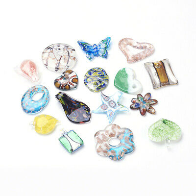 5PCS Handmade Lampwork Pendants Charms For DIY Craft Jewelry Making Mixed Color