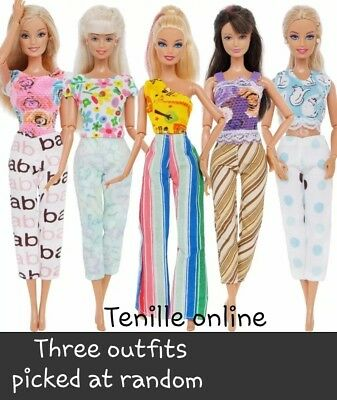 New Barbie doll outfits clothes pants dress x3 Aussie seller fast postage random