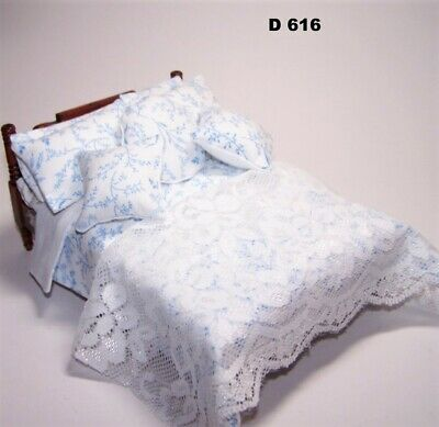 1/12th scale dolls house Double Bedding Set 8 Piece Quilted Floral D616/8 NEW!
