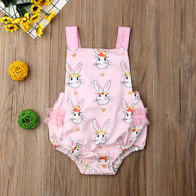 Easter Newborn Baby Girl Floral Bunny Romper Jumpsuit Outfits Sunsuit Clothes UK