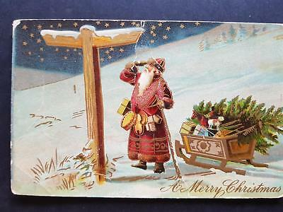 1900`s Vintage Postcard Greeting  Holiday Santa on Crossroad with Presents