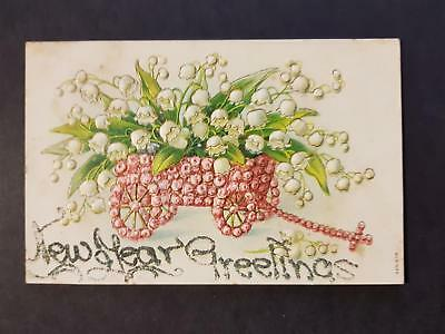 Australia Antique 1900`s New Year Lily of the Valley Postcard Embossed + Stamp