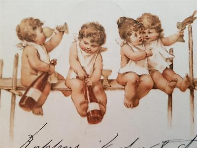 1907 Vintage Postcard Holidays New Year Greeting  Cupids Bern-Colombier