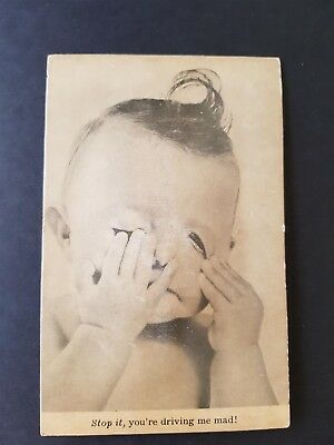 Fantasy Vintage Postcard Crying Child Baby Tweet Give a Sound Japan Copyra 1953