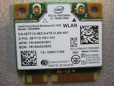 Intel Dual Band Wireless- AC7260   Model 7260HMW 867Mbps Bluetooth4.0