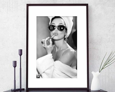 A4 Wall print Adurey Hepburn black and white sunglasses fashion model