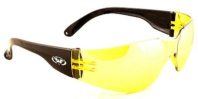 Yellow Tinted Motorcycle Sunglasses/Low Light Biker Glasses Inc Pouch & Postage