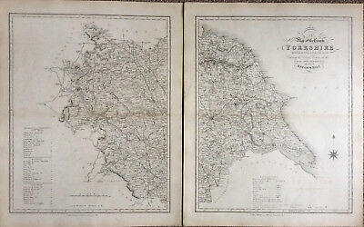 100% Original County Map of YORKSHIRE c1838 by Ebden & J Duncan, Scarce