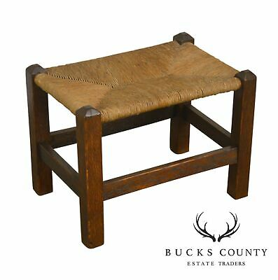 Mission Oak Stickley Ern Antique Rush Seat Stool