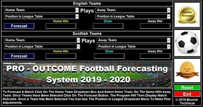 CDROM PRO OUTCOME 2019-2020 Forecast Football Betting System