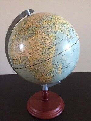 World Map Globe On Timber Stand