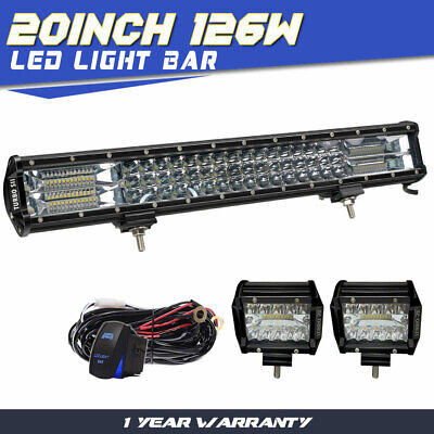 2x20/'/' 126W CREE Led Light Bar Flood Spot Work Driving Offroad 4WD Truck Atv UtE