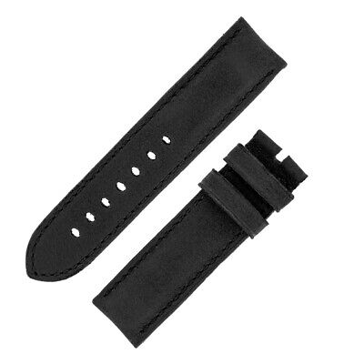 Rios1931 DERBY Genuine Vintage Leather Watch Strap with Buckle in BLACK