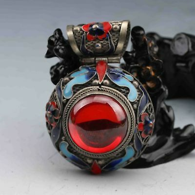 BEAUTIFUL CHINESE CLOISONNE INLAID RED ZIRCON HANDWORK PENDANT a02
