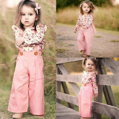 2PCS Toddler Kids Baby Girl Fashion Clothes Floral Tops+Pants Overall Outfits