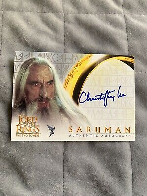 Lord of the Rings Autograph Card Sir Christopher Lee As Saruman TTT.