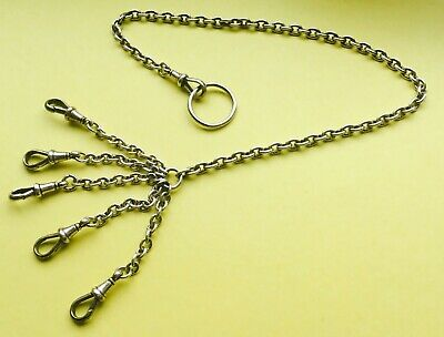 Long Antique Silver Chatelaine chain 1902 Cornelius Saunders & James Francis