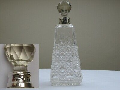 Beautiful English Silver collar and Cut Glass Ladies Perfume bottle 1912.