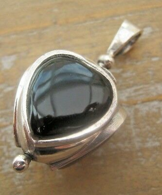 Victorian Style English Hallmarked Sterling Silver Triple Gem Heart Swivel Fob