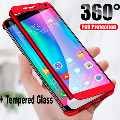 360° Full Cover Hybrid Case + Tempered Glass for Huawei P30 Pro P20 Mate 20 Lite