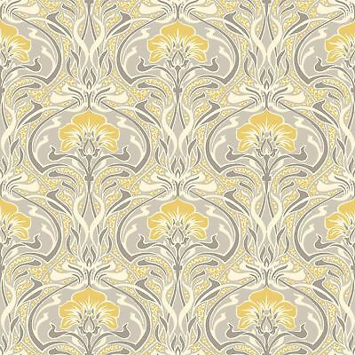 Crown Archives Flora Nouveau Wallpaper Yellow M1195 - Feature Wall New