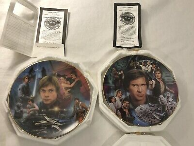 Star Wars Hamilton Plates Han Solo And Luke Skywalker With certificates 1997