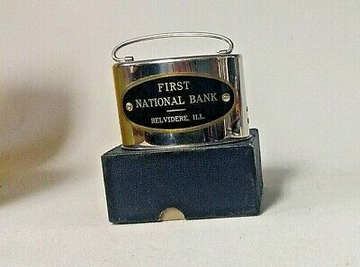 Vintage METAL COIN BANK  FIRST NATIONAL BANK-BELVIDERE,IL. ORIGINAL BOX