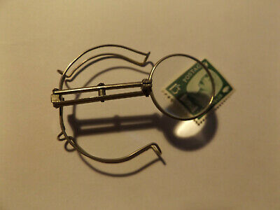 Vintage Clip On Magnifier Spectacles Magnifying Glass Unusual Item