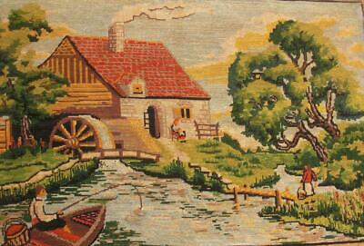 """Vintage completed Needlepoint Watermill cottage and fisherman 30.5""""x19.5"""""""