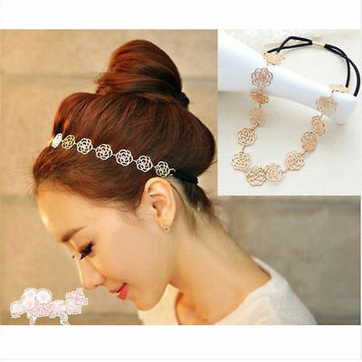 1pcs Girl Lady Sweet Metal Chain Jewelry Hollow Rose Flower Elastic Headband