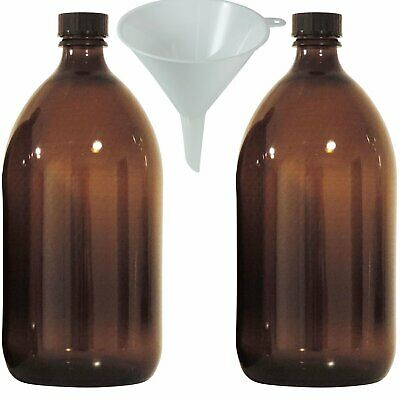 2 X Braune Medizinflasche 1000 Ml Apothekerflasche, Laborflasche Made In Germany