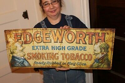 "Rare Vintage 1920's Edgeworth Smoking Tobacco Gas Oil 28"" Embossed Metal Sign"