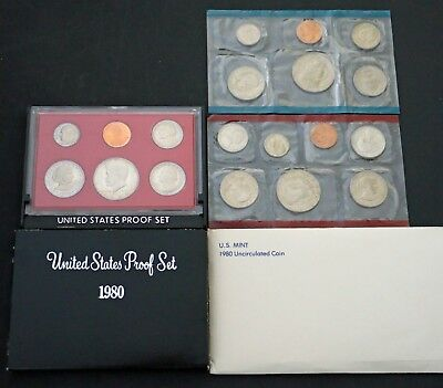 1980 US Proof & Mint Sets in OGP 19 Clean Blemish-free coins P D & S