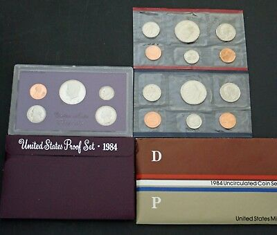 1984 US Proof & Mint Sets in OGP 17 Clean Blemish-free coins P D & S